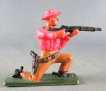 Starlux - Cow-Boys - Série 57 Ordinaire - Piéton Tireur fusil genoux (orange & marron) (réf 122)