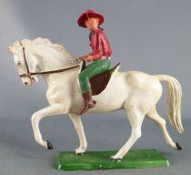 Starlux - Cow-Boys - Série 61 Ordinaire - Cavalier Fusil devant (rouge & vert) cheval blanc (réf 413)