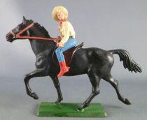 Starlux - Cow-Boys - Série 61 Ordinaire - Cavalier Lasso (jaune & bleu) cheval noir (réf 418)