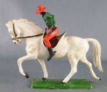 Starlux - Cow-Boys - Série 61 Ordinaire - Cavalier Revolver de coté (vert & orange) cheval blanc (réf 415)
