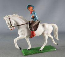 Starlux - Cow-Boys - Série 61 Ordinaire - Cavalier Revolver devant (bleu & marron) cheval blanc (réf 416)