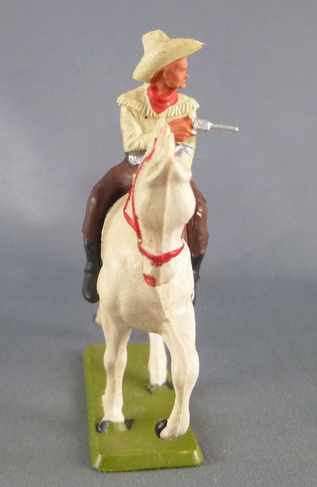 Starlux - Cow-Boys - Série 61 Ordinaire - Cavalier Revolver devant (jaune & marron) cheval blanc (réf 416)