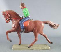 Starlux - Cow-Boys - Série 63 Luxe - Cavalier Fusil à la main (vert & bleu) cheval marron (réf 4417)