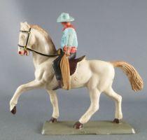 Starlux - Cow-Boys - Série 63 Luxe - Cavalier Lasso (bleu & noir) cheval blanc (réf 4416)