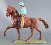 Starlux - Cow-Boys - Série 63 Luxe - Cavalier Lasso (bleu) cheval marron (réf 4416)