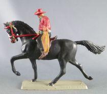 Starlux - Cow-Boys - Série 63 Luxe - Cavalier Lasso (rouge & noir) cheval noir (réf 4416)