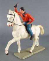 Starlux - Cow-Boys - Série 63 Luxe - Cavalier revolver en l\'air (orange & bleu ) cheval blanc (réf 4412)
