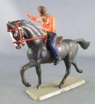 Starlux - Cow-Boys - Série 63 Luxe - Cavalier Tireur révolver main gauche (orange & bleu) cheval noir (réf 4415)