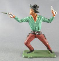 Starlux - Cow-Boys - Série 64 Luxe Spéciale - Piéton Debout 2 revolvers (vert & violet) (réf 5123)