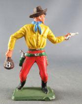 Starlux - Cow-Boys - Série 64 Luxe Spéciale - Piéton revolver & bourse (jaune & rouge) (réf 5125)