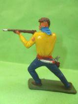 Starlux - Cow-Boys - Série 64 Luxe Spéciale - Piéton Tireur fusil genoux plié (jaune & bleu) (réf 5121)