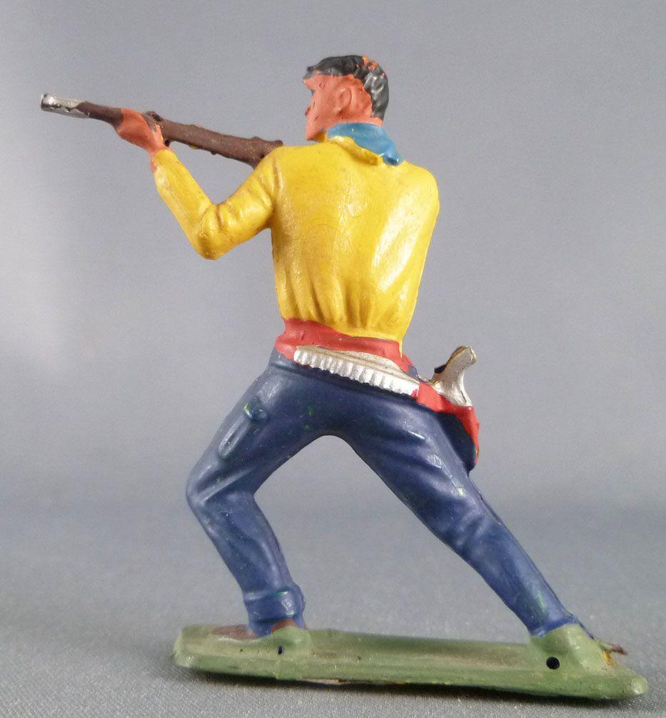 Starlux - Cow-Boys - Série 64 Luxe Spéciale - Piéton Tireur fusil genoux plié (jaune & bleu) (réf 5121) 2
