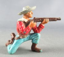 Starlux - Cow-Boys - Series 55/56 (Luxe) - Footed Kneeling firing rifle (red & blue) (réf C 2122)