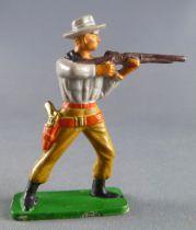 Starlux - Cow-Boys - Series 57 (Regular) - Footed firing rifle standing (grey & ochre) (ref 121)