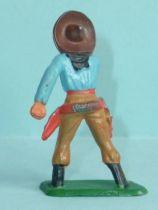Starlux - Cow-Boys - Series 57 (Regular) - Footed Hand on gun (blue & ochre) (ref 129)
