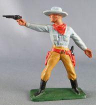 Starlux - Cow-Boys - Series 57 (Regular) - Footed Standing firing gun (grey & brown) (ref 123)