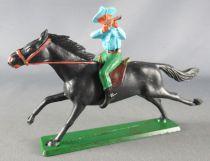 Starlux - Cow-Boys - Series 61 (Regular) - Mounted Firing rifle (blue & green) black horse (ref 411)