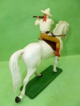 Starlux - Cow-Boys - Series 61 (Regular) - Mounted Firing rifle (yellow and light brown) white horse (ref 411)