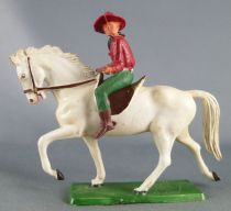 Starlux - Cow-Boys - Series 61 (Regular) - Mounted Rifle on front (red & green) white horse (ref 413)
