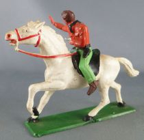 Starlux - Cow-Boys - Series 63 (Luxe) - Mounted Firing gun left hand (orange & green) white horse (ref 4415)