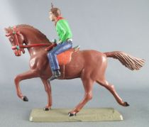 Starlux - Cow-Boys - Series 63 (Luxe) - Mounted rifle on side (green & blue) brown horse (ref 4417)