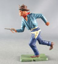 Starlux - Cow-Boys - Series 64 (Luxe Speciale) - Footed Running with gun (blue) (ref 5131)
