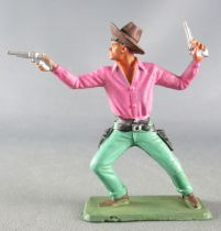Starlux - Cow-Boys - Series 64 (Luxe Speciale) - Footed Standing 2 guns (velvet & green) (ref 5123)