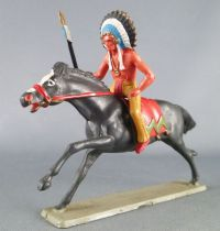 Starlux - Indians - Series Luxe 63 - Mounted Chief (yellow) black galloping horse (ref 4421)
