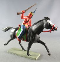 Starlux - Indians - Series Luxe 63 - Mounted Rifle up (blue) black trotting horse (ref 4424)