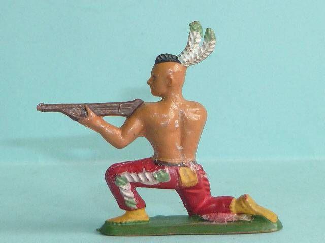 Starlux - Indians - Series Regular 57 - Footed Firing rifle kneeling (red) (ref 142)
