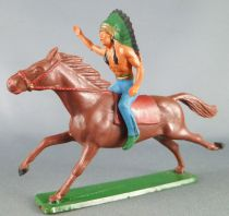 Starlux - Indians - Series Regular 65 - Mounted Chief (blue) brown galoping horse (ref 421)