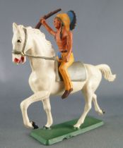 Starlux - Indians - Series Regular 65 - Mounted Rifle up (yellow ) white troting horse (ref 426)