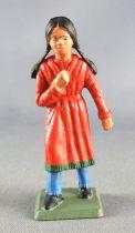 Starlux - Indiens - Série Femmes du Far-West 69 - Fillette indienne (orange) (réf 5166)