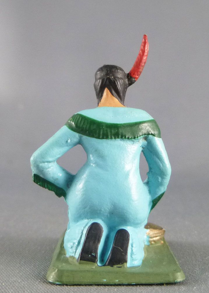 Starlux - Indiens - Série Femmes du Far-West 69 - Squaw préparant maïs (bleu) (réf 5163)
