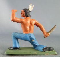Starlux - Indiens - Série Luxe 55/56 - Piéton Guetteur genoux socle (réf 2151)