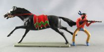 Starlux - Indiens - Série Luxe 63 - Cavalier Fusil devant (jaune) cheval noir galop (réf 4425)