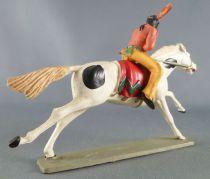 Starlux - Indiens - Série Luxe 63 - Cavalier Fusil sur le coté (jaune) cheval blanc galop (réf 4425)
