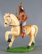 Starlux - Indiens - Série Ordinaire 53 - Cavalier Chef (bleu) cheval blanc au pas (réf 435)