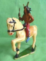 Starlux - Indiens - Série Ordinaire 53 - Cavalier Chef cheval blanc au pas (réf 435)