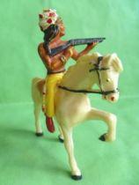 Starlux - Indiens - Série Ordinaire 53 - Cavalier Tireur fusil (jaune) cheval blanc au pas (réf 431)