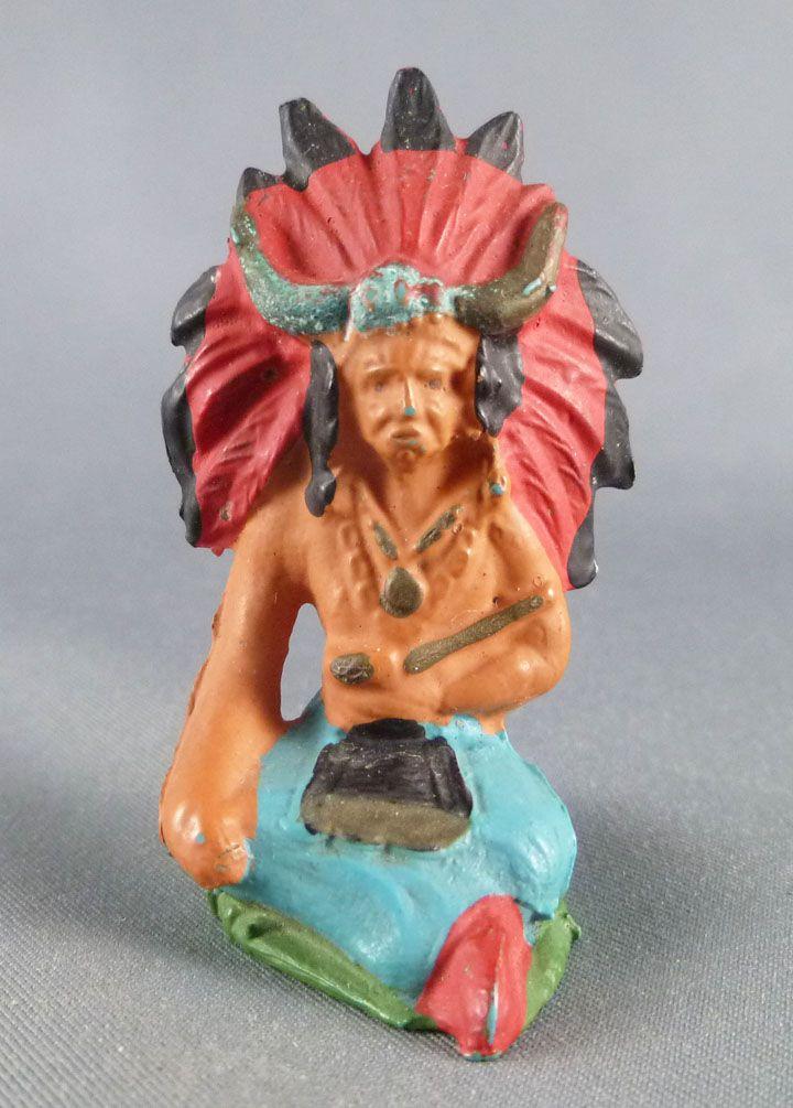 Starlux - Indiens - Série Ordinaire 53 - Piéton Sorcier assis (bleu coiffe rouge) (réf 201)