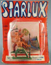 Starlux - Indiens - Série Ordinaire 57 - Blister 3 Piétons Guetteur Lance Fusil Debout Hache Bouclier (réf 151 141 148)