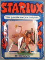 Starlux - Indiens - Série Ordinaire 57 - Blister 3 Piétons Hache Fusil Genoux Danseur Torches (réf 147 142 150)