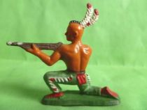 Starlux - Indiens - Série Ordinaire 57 - Piéton Tireur Fusil genoux (vert pagne rouge) (réf 142)