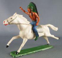 Starlux - Indiens - Série Ordinaire 65 - Cavalier Chef (bleu) cheval blanc galop (réf 421)