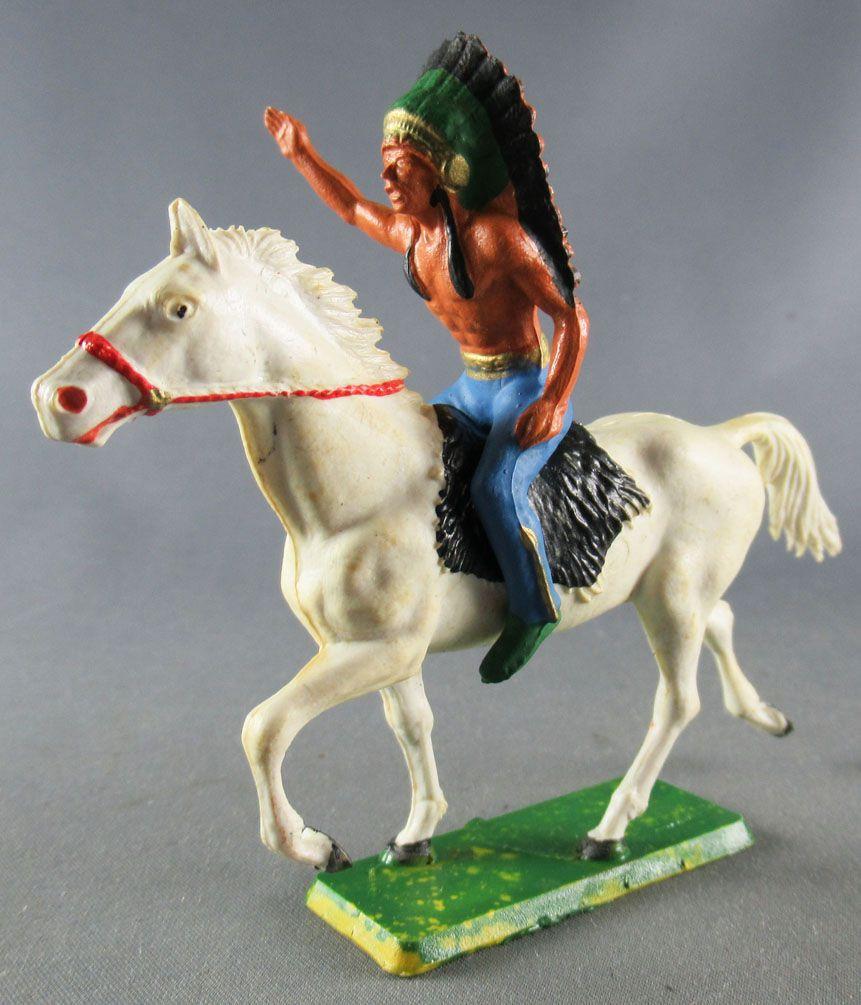 Starlux - Indiens - Série Ordinaire 65 - Cavalier Chef (bleu) cheval blanc trot (réf 421)
