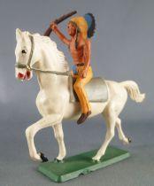 Starlux - Indiens - Série Ordinaire 65 - Cavalier Fusil en l\'air (jaune) cheval blanc trot (réf 426)