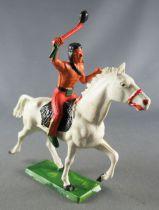 Starlux - Indiens - Série Ordinaire 65 - Cavalier Tomahawk cheval blanc trot (réf 425)