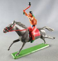 Starlux - Indiens - Série Ordinaire 65 - Cavalier Tomahawk cheval gris foncé galop (réf 425)