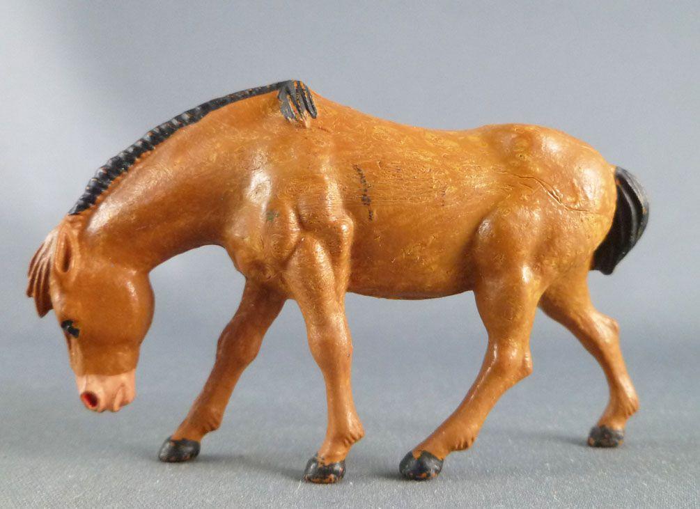 Starlux - La Ferme - Animaux - Cheval tête baissée sans socle (marron) (série 60 réf 2542)